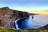Panoramic View of Cliffs of Moher at Sunset in Ireland. Photographic Print by Lukasz Pajor