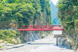 Red Bridge in Taroko National Park Taiwan Photographic Print by  superjoseph