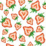 Strawberry. Watercolor Seamless Strawberry Pattern. Prints by  MargaritaSh