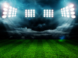 Stadium Lights at Night and Stadium Photographic Print by ZaZa studio