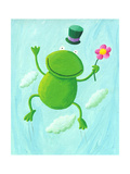Funny Frog Jumping Up Posters by  andreapetrlik