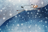 Funny Sheep and Snow. New Year, Ease,Easiness Print by  vipa21
