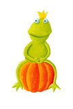 Frog Prince Sitting on Pumpkin Print by  andreapetrlik