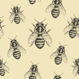 Bees Texture. Seamless Pattern Poster by  MargaritaSh