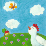 Funny Hen and Butterfly Poster by  andreapetrlik