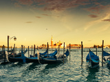 Gondolas Moored by Saint Mark Square with San Giorgio Di Maggior Photographic Print by Valerie Potapova