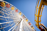 Ferris Wheel and Roller Coaster Photographic Print by  EvanTravels