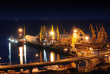 Night Port Odessa Ukraine Photographic Print by  vector_master
