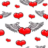 Animation Red Heart with Wings. Seamless Pattern Art by  MargaritaSh