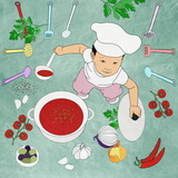 Funny Kid Preparing Food in the Kitchen, Chef Premium Giclee Print by  vipa21