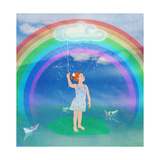 Child in the Meadow and Rainbow Premium Giclee Print by  vipa21