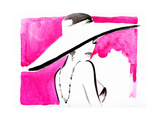 Woman Portrait with Hat .Abstract Watercolor Posters by Anna Ismagilova