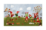 Acrylic Illustration of the Cute Kids - Dwarfs Dancing in the Fa Posters by  andreapetrlik