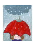 Girl in Rain with Umbrella Prints by  andreapetrlik