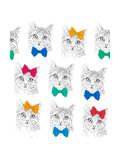 Little Cats with a Bows. Seamless Pattern Print by  MargaritaSh
