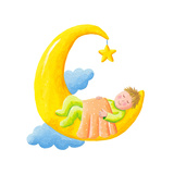 Baby Sleeps on the Moon Premium Giclee Print by  andreapetrlik