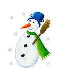 Snowman with Broom Poster by  andreapetrlik