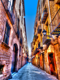 Narrow Road in the Old Center of Barcelona in Spain. HDR Photographic Print by imagIN photography