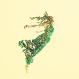 Double Exposure of Woman Flying with Leaves Photographic Print by  Melpomene