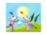 Mice in Love Running in the Meadow Prints by  andreapetrlik