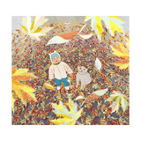 Baby and Cat Look like falling Leaves in Autumn Premium Giclee Print by  vipa21