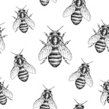 Bees Texture. Seamless Pattern Prints by  MargaritaSh