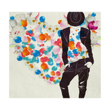 Stylish Romantic Man on the Background of Hearts Posters by  vipa21