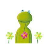 Funny Frog in the Flowers Print by  andreapetrlik
