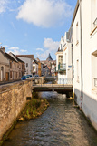 Voulzie River and Medieval Street in Provins, France Photographic Print by  joymsk