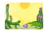 Two Cute Lizards in the Desert Poster von  andreapetrlik