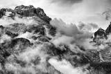 Dolomites Mountains Black and White Fotografisk trykk av  stefano pellicciari