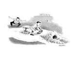 A baseball player sliding into a base, burrows beneath the second baseman. - New Yorker Cartoon Premium Giclee Print by Pat Byrnes