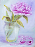 Peony in Vase, Oil Painting on Canvas Print by  Valenty