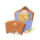 Boy Reading Bed Time Story Prints by  andreapetrlik