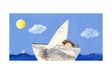 Little Boy and Cat Sailing Prints by  andreapetrlik