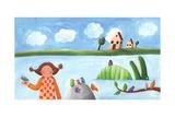 Girl, Bird and Crocodile Plakaty autor andreapetrlik