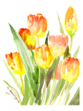 Flame Colored Tulips Poster by Suren Nersisyan