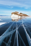 Baikal in February. the Cracks on Smooth Blue Ice Photographic Print by  katvic