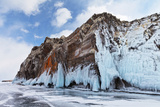 Lake Baikal in Winter. Icy Cliffs of the Island Ogoy Photographic Print by  katvic