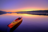 Kayak on Lake at Sunrise Photographic Print by  EvanTravels