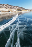 Baikal Lake. Lines of Cracks on Blue Ice Photographic Print by  katvic