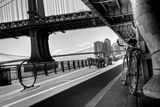Manhattan Waterfront Bike Path B&W Photographic Print by  EvanTravels
