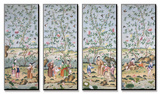 A Set of Four Chinese Painted Wallpaper Panels Depicting Chinese Figures in a Garden with Bamboo… Mounted Print by  Chinese School