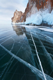 Beautiful Ice with Cracks near Olkhon Island in Baikal Lake Photographic Print by  katvic
