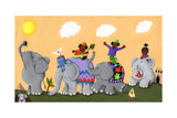 Happy and Sad African Elephants and Children Art by  andreapetrlik