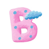 Initial Pink Letter B with Cloud Prints by  andreapetrlik