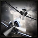 Dramatic Scene on the Sky: Vintage Fighter Plane Inbound from Sun Posters by  Kletr