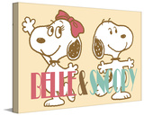 Belle and Snoopy Peanuts Print on Canvas Stretched Canvas Print by Charles M. Schulz