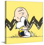 Charlie Hugs Snoopy Peanuts Print on Canvas Stretched Canvas Print by Charles M. Schulz