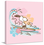 Snoopy Surfing Peanuts Print on Canvas Stretched Canvas Print by Charles M. Schulz